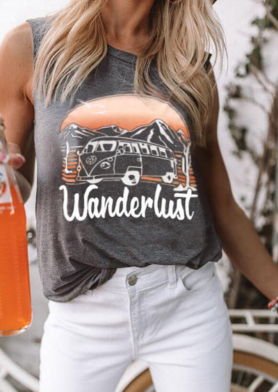 Wanderlust Mountain Bus O-Neck Tank