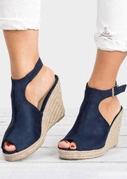 Solid Peep Toe Wedge Sandals