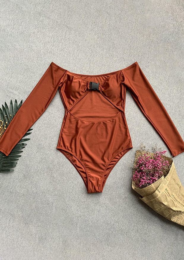 Solid Buckle One-Piece Swimsuit