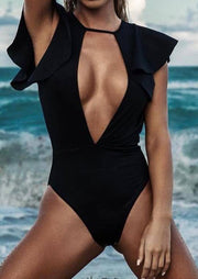 Solid Ruffled Deep V-Neck Swimsuit