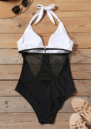 Color Block Mesh Splicing Halter Swimsuit