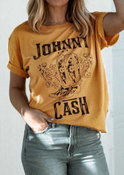Johnny Cash Short Sleeve T-Shirt Tee -Yellow