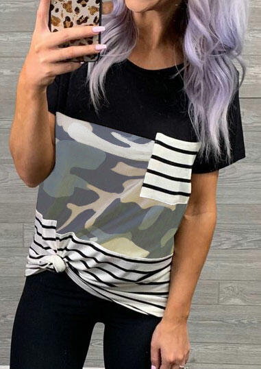 Striped Splicing Pocket T-Shirt Tee - Camouflage