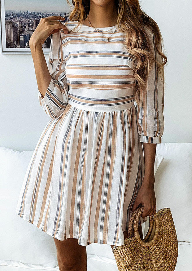 Striped Ruffled O-Neck Mini Dress