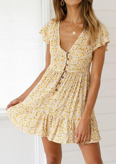 Floral Deep V-Neck Mini Dress without Necklace - Yellow