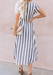 Striped V-Neck Tie Casual Dress - Stripe