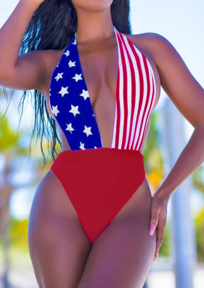 America Flag Deep V-Neck Swimsuit - Blue