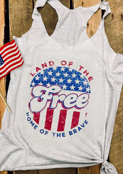 Land Of The Free Tank - Light Grey