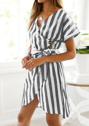 Striped Irregular V-Neck Mini Dress without Necklace - Black