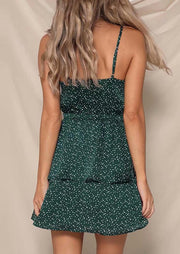 Polka Dot Tie Mini Dress without Necklace - Green