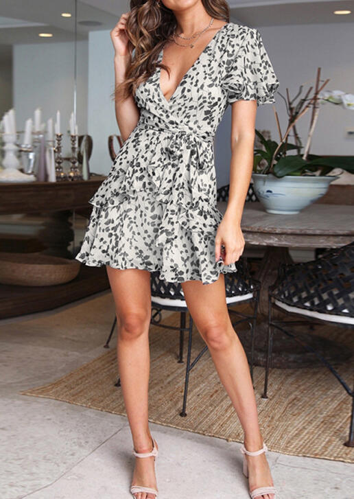 Printed Ruffled Deep V-Neck Mini Dress without Necklace - White