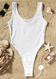 Solid Mesh One-Piece Swimsuit - White