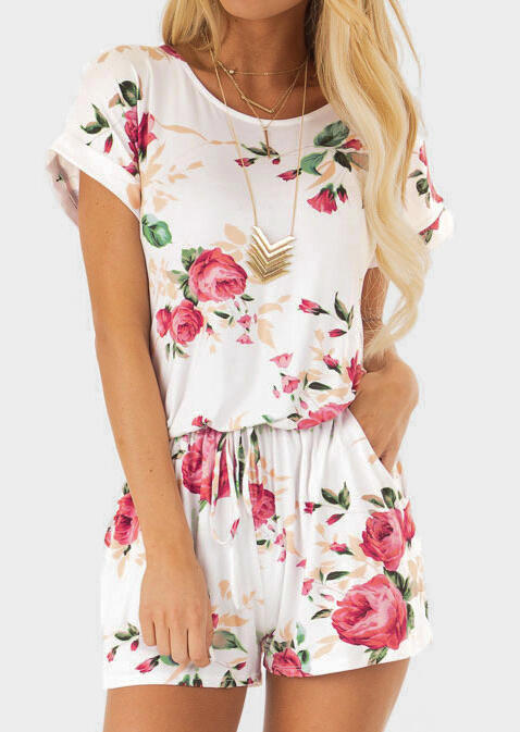 Floral Drawstring Pocket Romper without Necklace - White