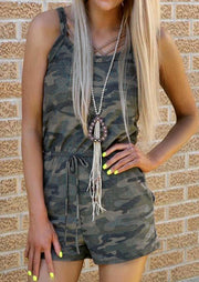 Camouflage Drawstring Rompers without Necklace - Camouflage