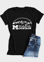 Mama Mountain O-Neck T-Shirt Tee - Black