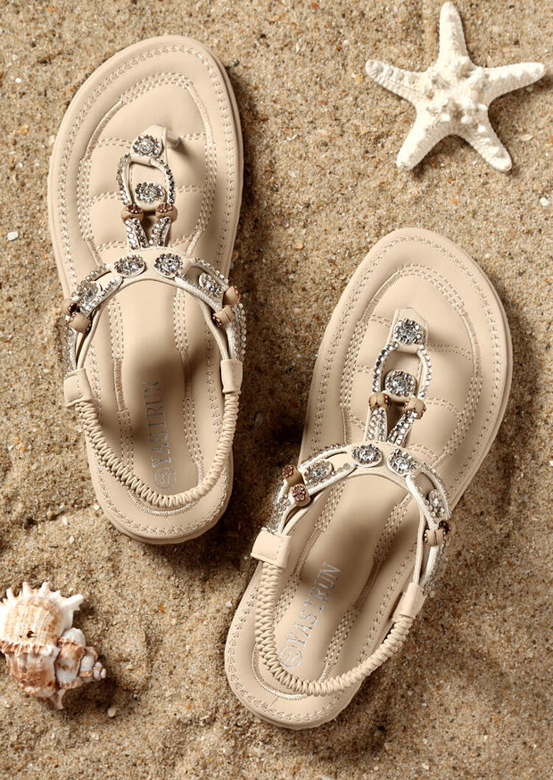 Beading Round Toe Flat Sandals - Apricot