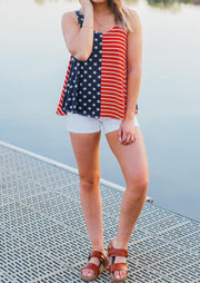 American Flag Striped Star Tank without Necklace - Stripe