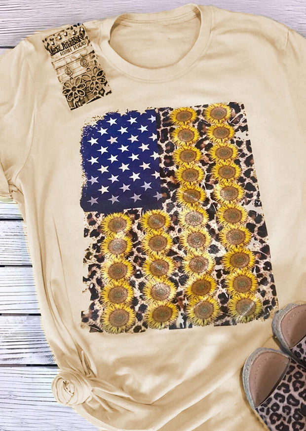 American Flag Sunflower T-Shirt Tee - Flesh