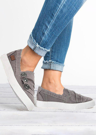 Solid Ruffled Button Flat Sneakers - Gray