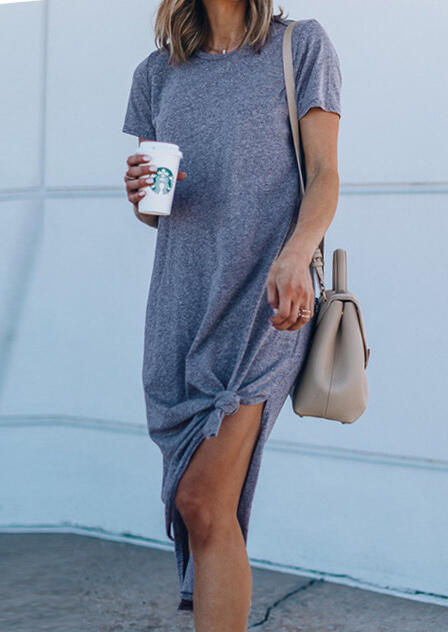 Solid Slit Casual Dress without Necklace - Blue