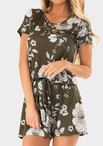 Floral Drawstring Pocekt Romper without Necklace - Army Green