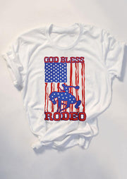 American Flag God Bless Rodeo T-Shirt Tee - White