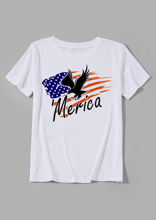 'Merica Eagle American Flag T-Shirt Tee - White
