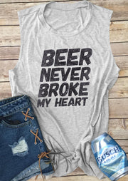 Beer Never Broke My Heart Tank - Gray