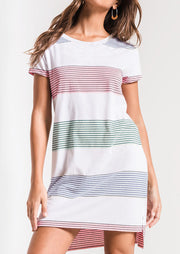 Striped O-Neck Asymmetric Mini Dress - White
