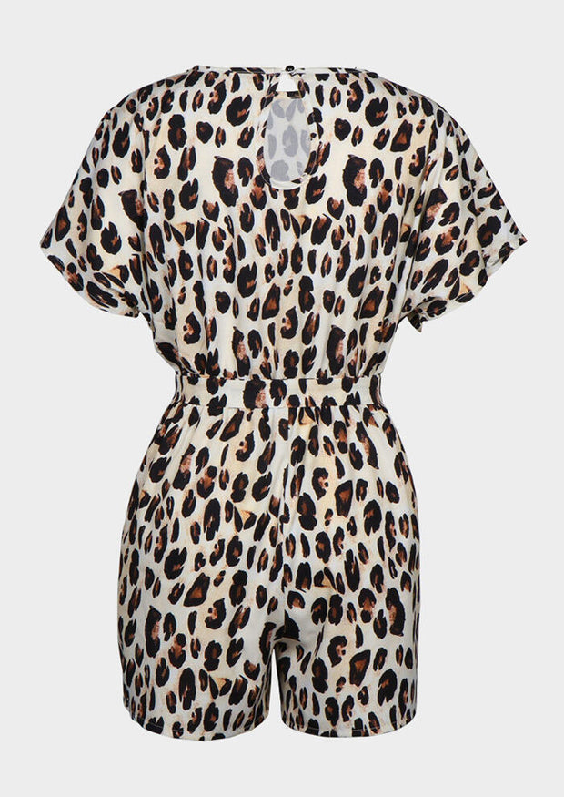 Leopard Printed Hollow Out Tie Romper - Leopard