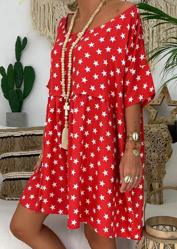 Star Printed Casual Dress without Necklace - Watermelon Red