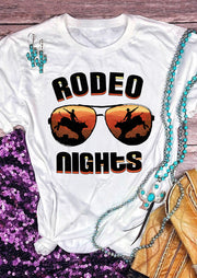 Rodeo Nights Glasses T-Shirt Tee - White