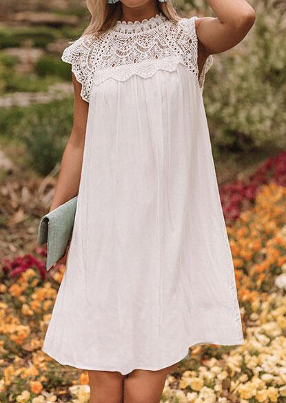 Solid Lace Spicling Mini Dress - White