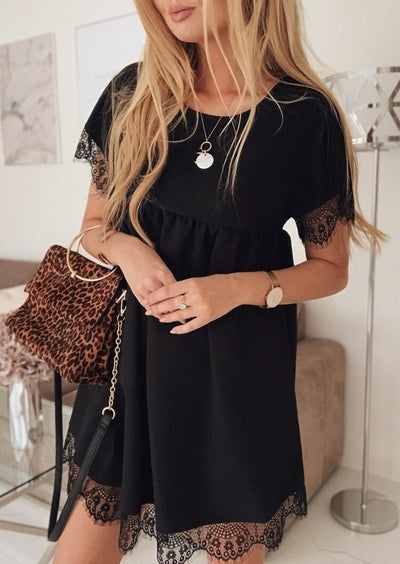 Solid Ruffled Lace Splicing Mini Dress without Necklace - Black