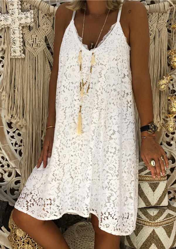 Solid Lace Splicing Spaghetti Strap Mini Dress without Necklace - White