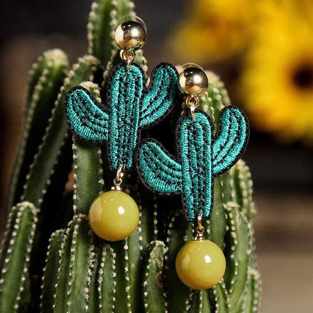 Beads Embroidery Cactus Earrings