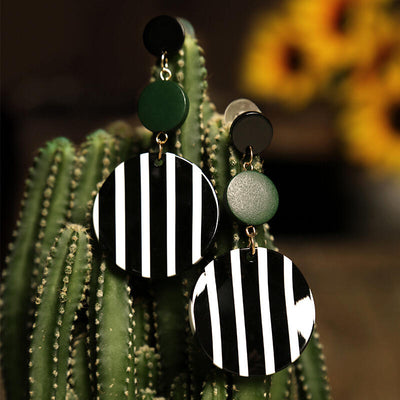 Striped Round Acrylic Earrings