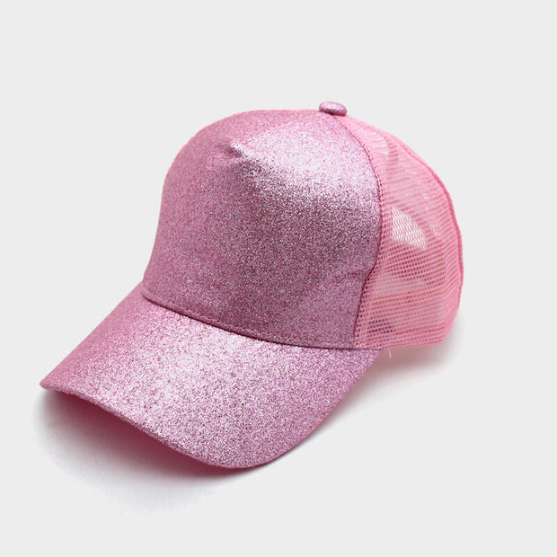 Sequined Mesh Splicing Baseball Cap