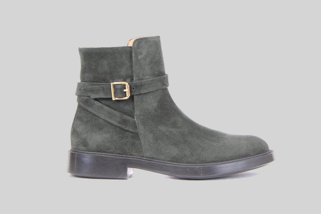 Jodhpur boots for women in dark green suede