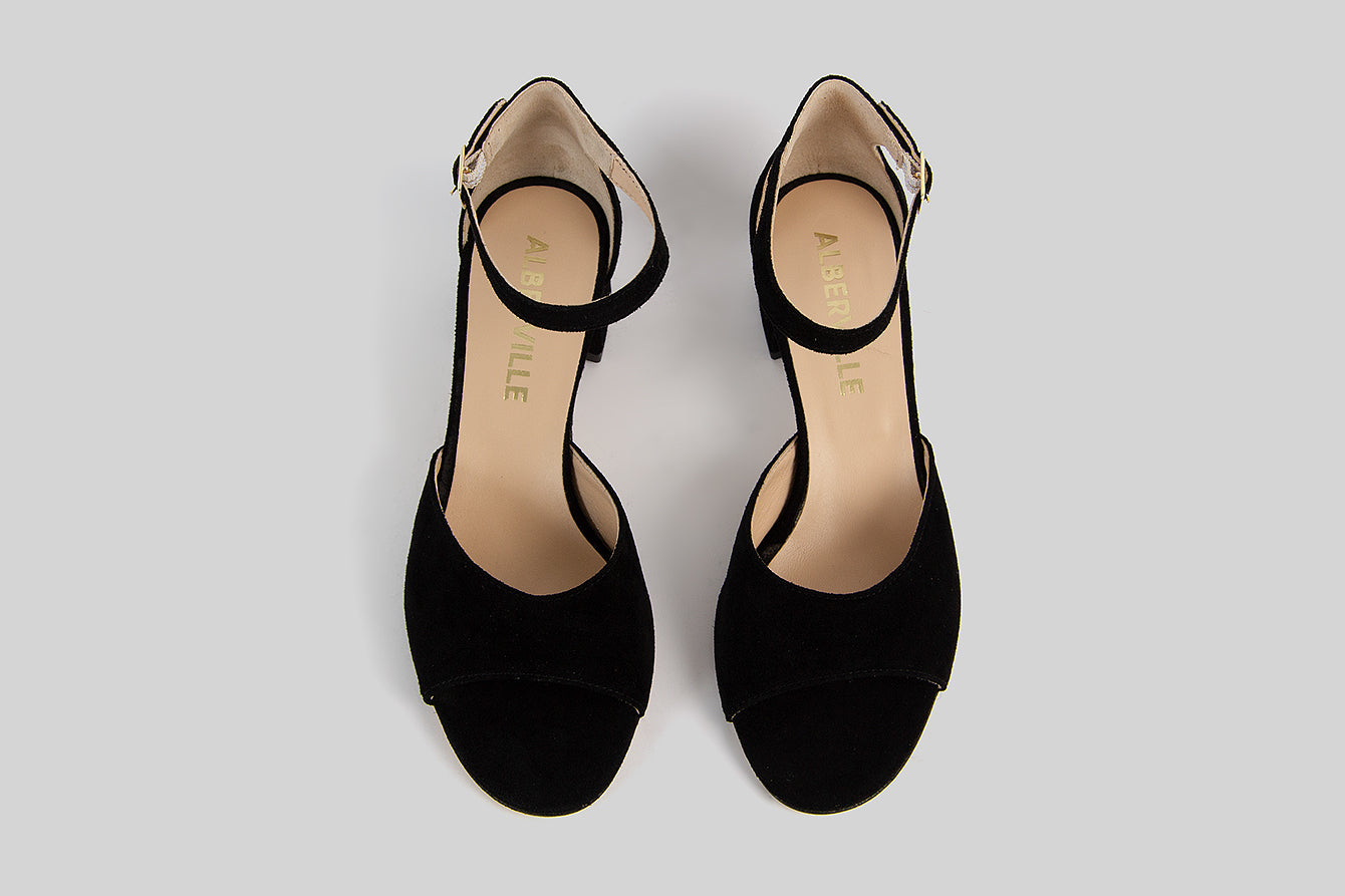 Black open toe sandals with a heel