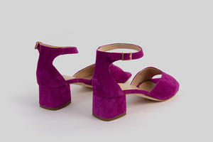 Purple open toe sandals with a heel