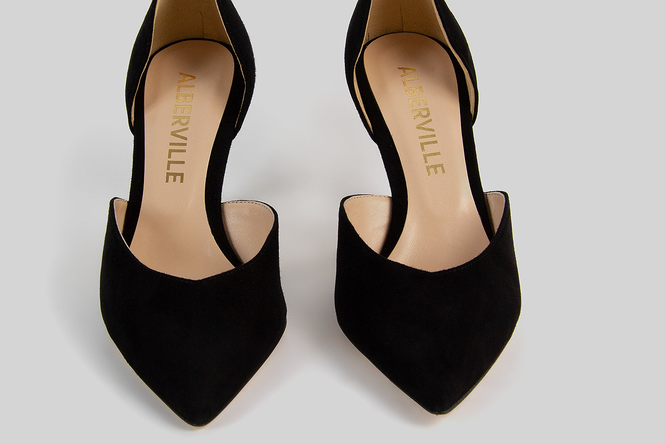 IRO BLACK SUEDE TWO-PIECE PUMPS