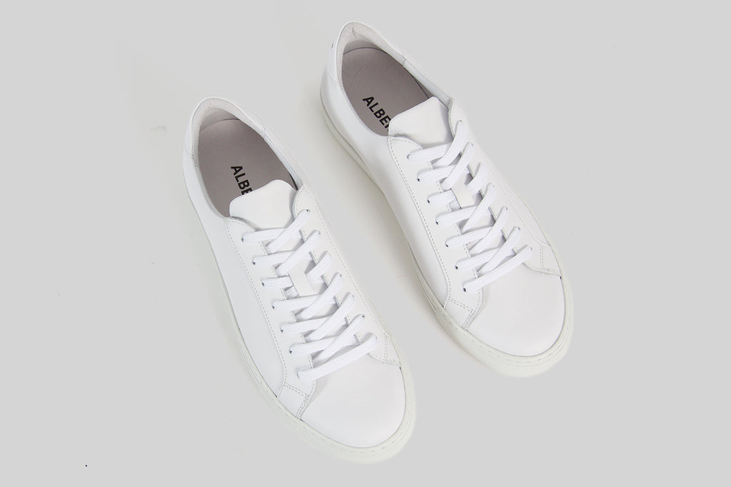 men's sneakers in white calf leather