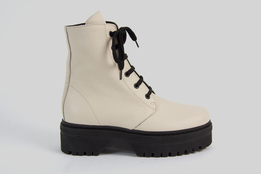 Chunky lace-up boots in off white leather