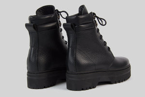 Women lace-up boots in black grained leather