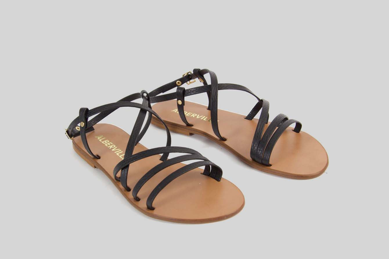 Black sandal with thin straps.