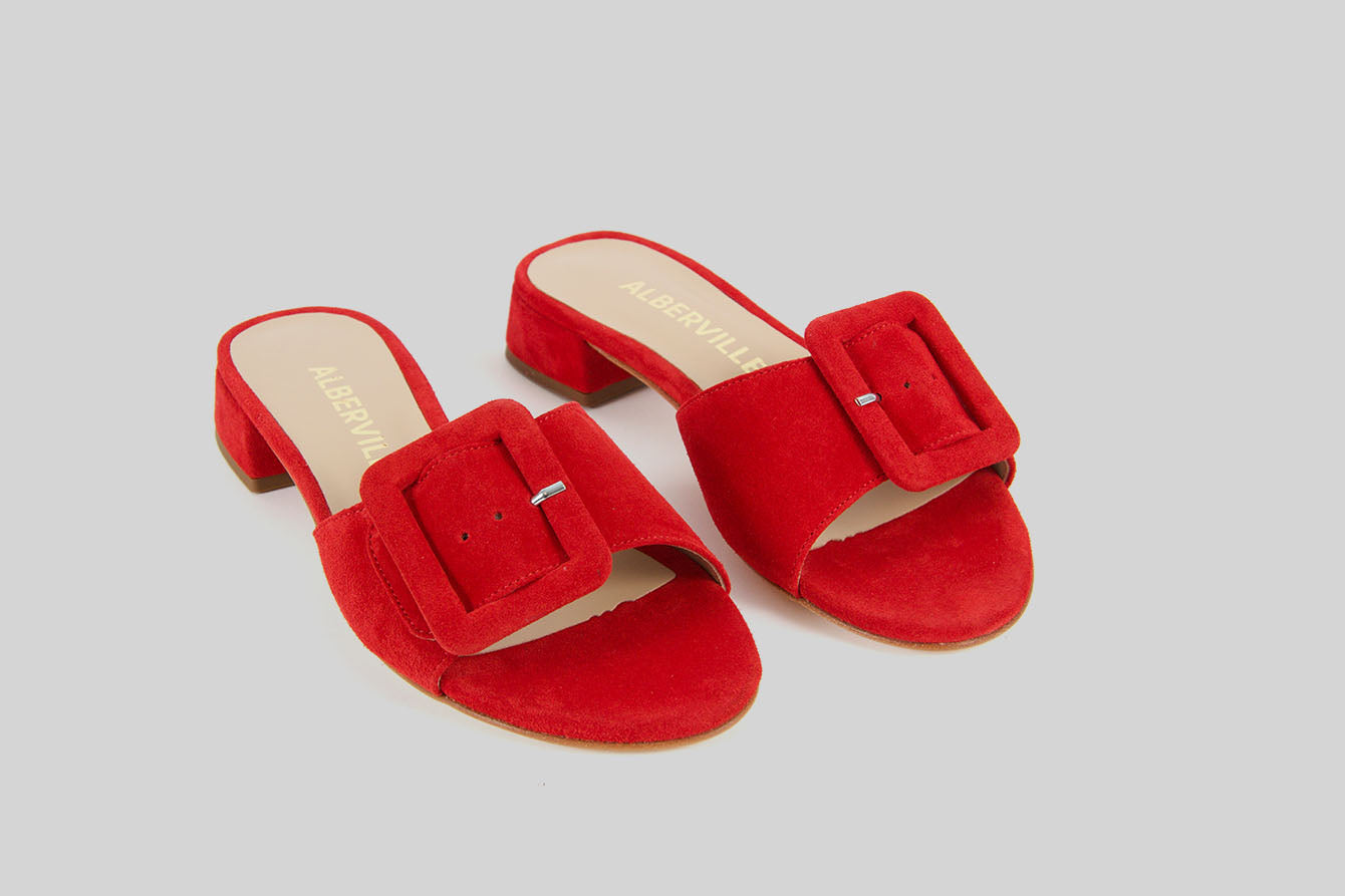 Mary Red Slip-on Sandals