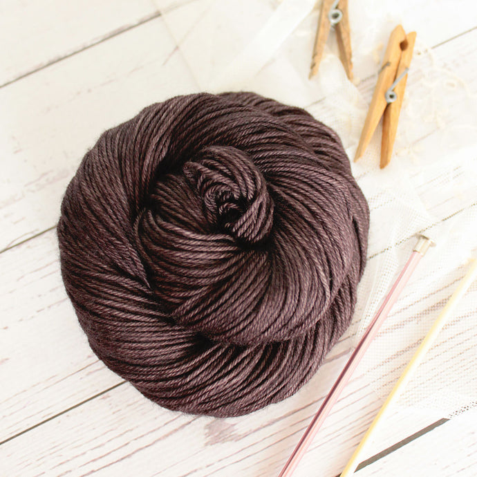 hand dyed wool cashmere nylon knitting yarn in black, 4 oz skein, dyed in the US by Yarn Love