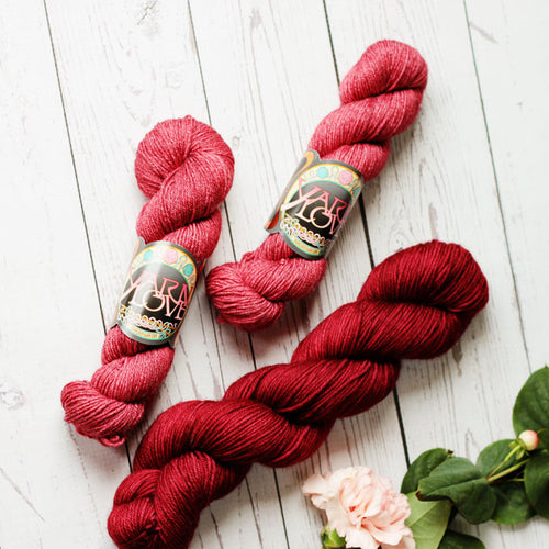 hand dyed red wool nylon cashmere yak silk knitting yarn, 4 oz. skein, dyed in the USA by Yarn Love