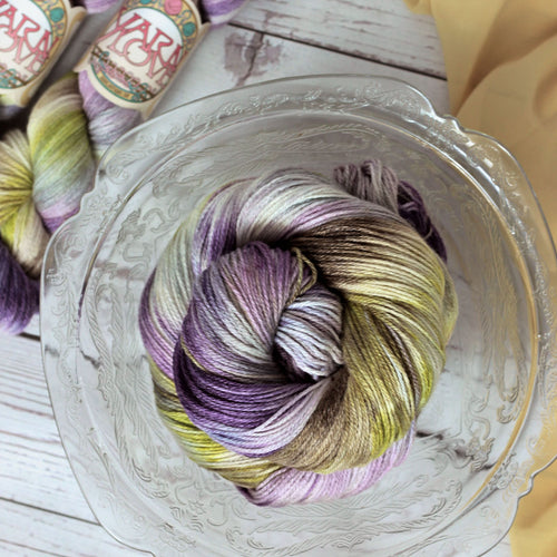 hand dyed purple superwash wool bamboo nylon knitting yarn, 4 oz, fingering weight, dyed in the USA by Yarn Love